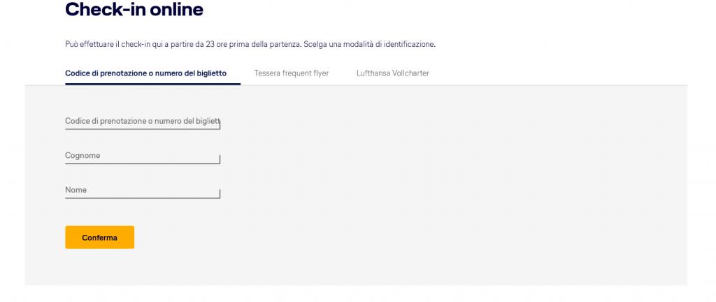 Come fare check in online Lufthansa