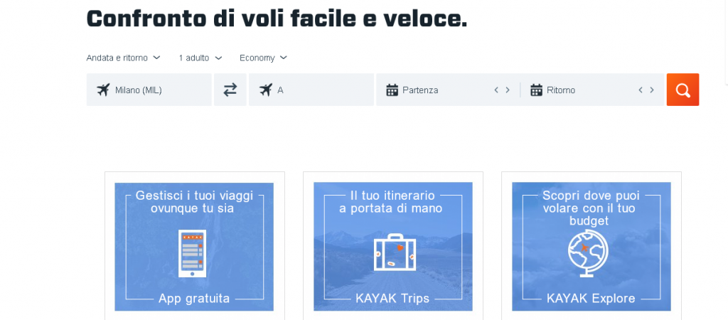 voli senza data su kayak