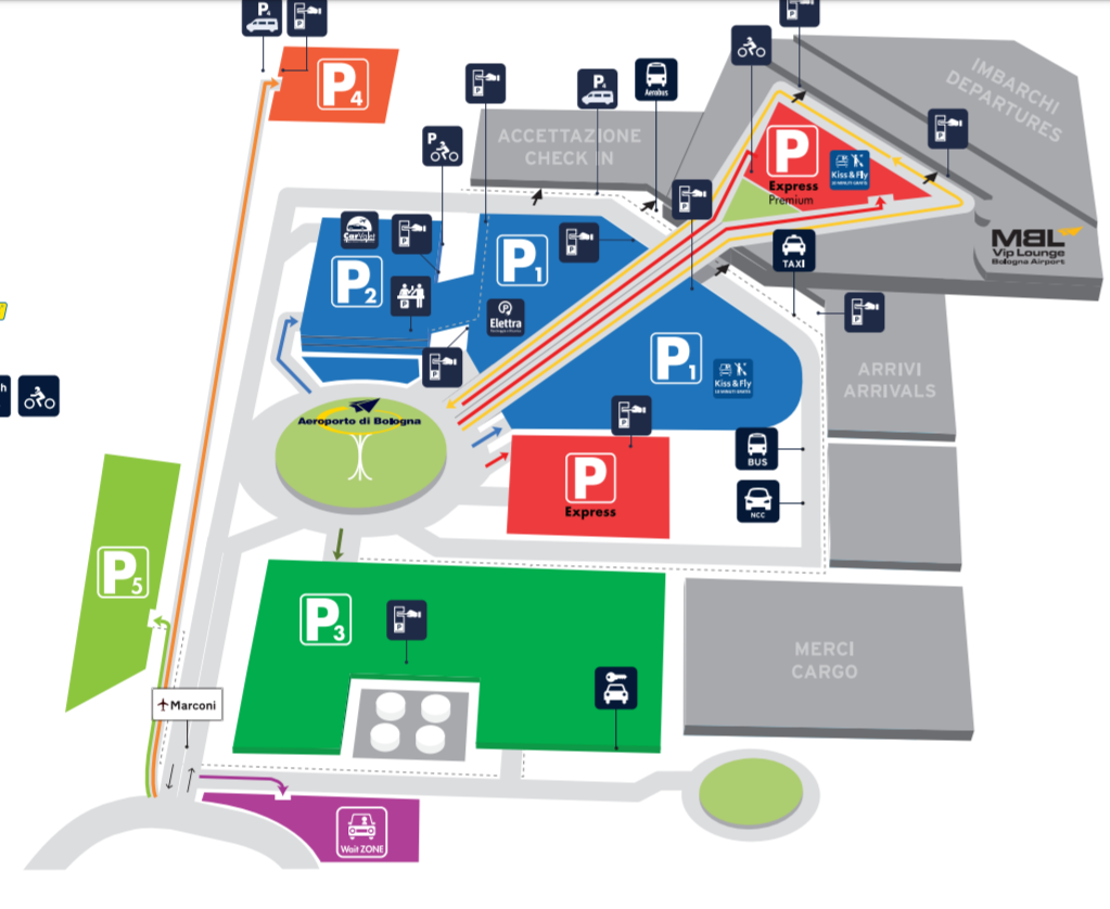 Aeroporto di Bologna: Mappa di accessi all'aeroporto
