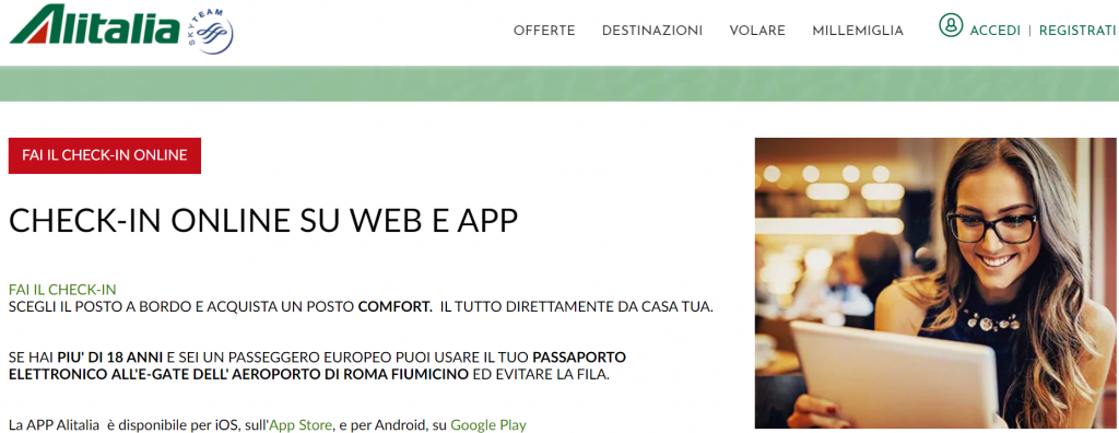 Check in online Alitalia. Richiedi la nostra assistenza gratuita online