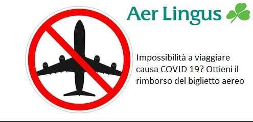 Negato imbarco Aer Lingus causa Covid 19.